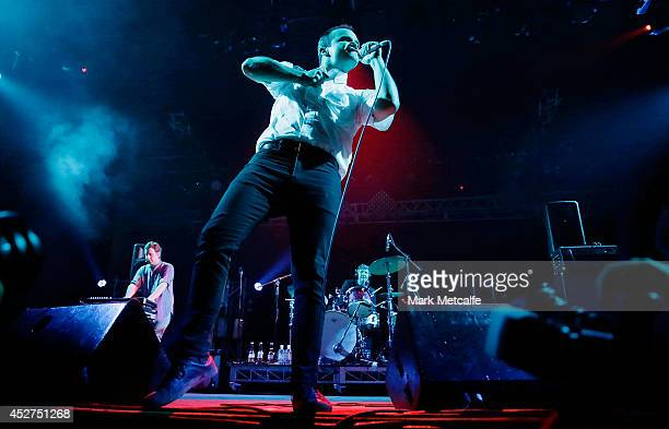 Samuel T Herring of Future Islands performs on stage at Splendour In the Grass 2014 on July 26 2014 in Byron Bay Australia