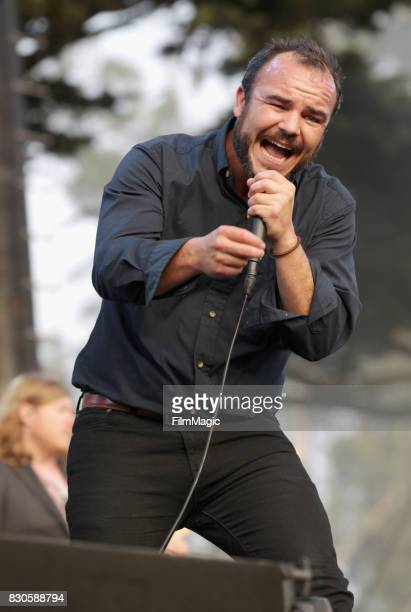 Samuel T Herring of Future Islands performs on the Twin Peaks Stage during the 2017 Outside Lands Music And Arts Festival at Golden Gate Park on...