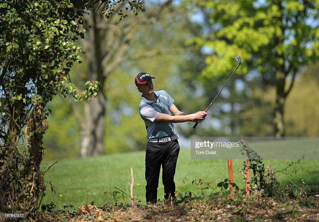 Samuel Teer of Clacton Golf Club in action during the Powerade PGA Assistants' Championship East Regional Qualifier at Chigwell Golf Club on May 01, 2013 in Chigwell, England.