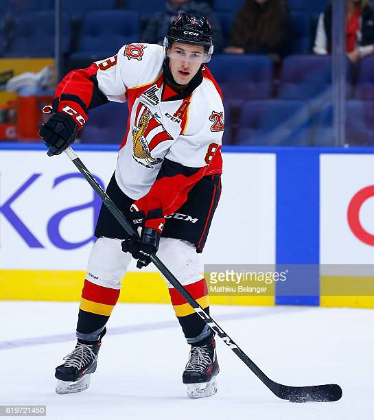 Samuel Thibault of the Baie Comeau Drakkar skates against the Quebec Remparts during their QMJHL hockey game at the Centre Videotron on October 14...