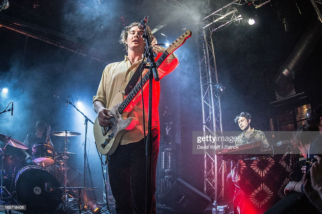 Samuel Thomas Fryer and Chilli Alexander Jesson from Palma Violets performs at La Fleche d' Or at on April 5, 2013 in Paris, France.