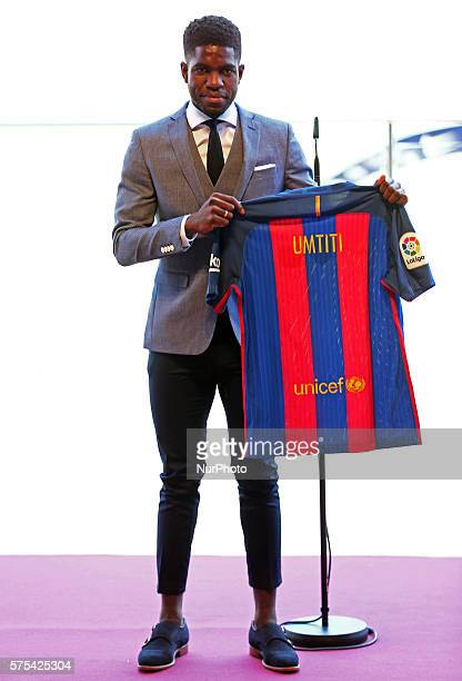 Samuel Umtiti during his presentation for the FC Barcelona held in the Camp Nou stadium on 15 july 2016