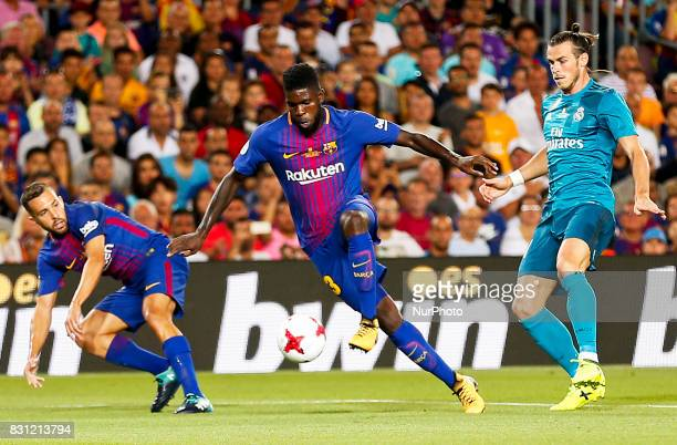 Samuel Umtiti during the spanish Super Cup match between FC Barcelona v Real Madrid in Barcelona on August 13 2017