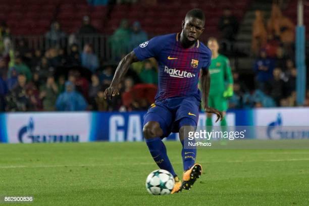 Samuel Umtiti in action during the UEFA Champions League match between FC Barcelona and Olympiacos FC in Barcelona on October 19 2017