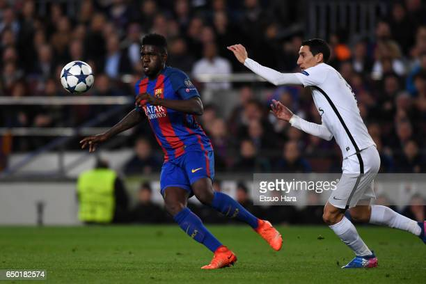 Samuel Umtiti of Barcelona and Angel Di Maria of Paris SaintGermain compete for the ball during the UEFA Champions League Round of 16 second leg...