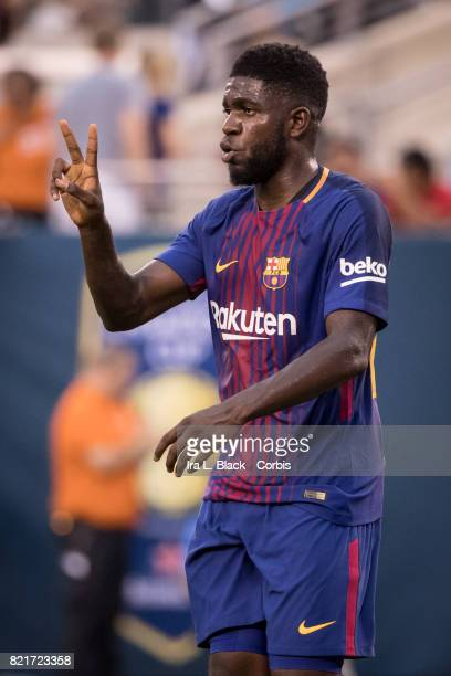 Samuel Umtiti of Barcelona communicates with teammates during the International Champions Cup match between FC Barcelona and Juventus at the MetLife...
