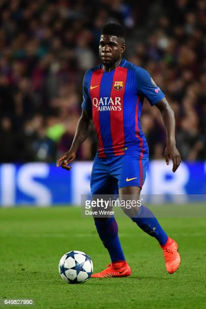 Samuel Umtiti of Barcelona during the Uefa Champions League Round of 16 second leg match between FC Barcelona and Paris Saint Germain at Camp Nou on...