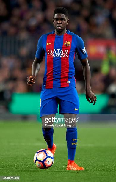 Samuel Umtiti of Barcelona in action during the La Liga match between FC Barcelona and Valencia CF at Camp Nou Stadium on March 19 2017 in Barcelona...