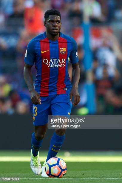 Samuel Umtiti of Barcelona in action during the La Liga match between FC Barcelona and Villarreal CF at Camp Nou Stadium on May 6 2017 in Barcelona...