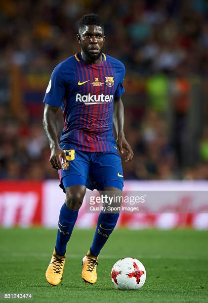 Samuel Umtiti of Barcelona in action during the Supercopa de Espana Supercopa Final 1st Leg match between FC Barcelona and Real Madrid at Camp Nou on...