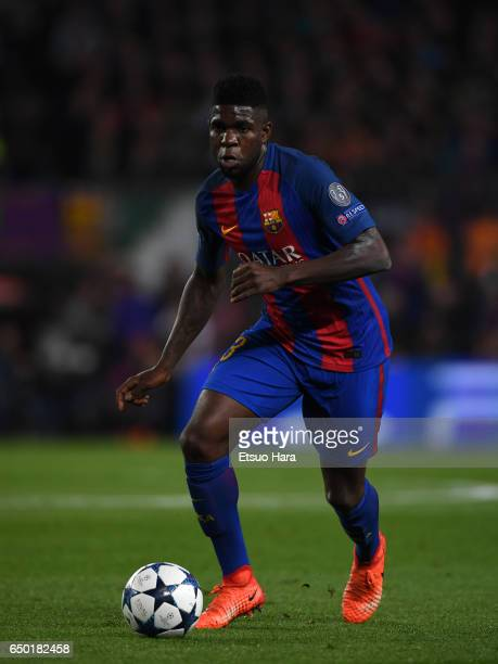 Samuel Umtiti of Barcelona in action during the UEFA Champions League Round of 16 second leg match between FC Barcelona and Paris SaintGermain at...