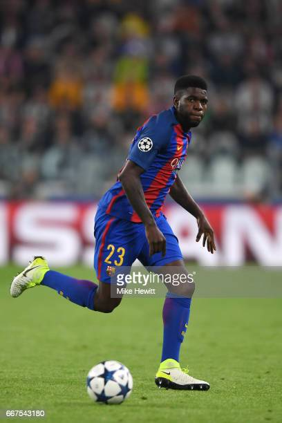 Samuel Umtiti of Barcelona in action during the UEFA Champions League Quarter Final first leg match between Juventus and FC Barcelona at Juventus...