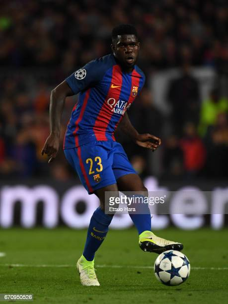 Samuel Umtiti of Barcelona in action during the UEFA Champions League Quarter Final second leg match between FC Barcelona and Juventus at Camp Nou on...