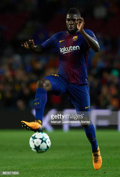 Samuel Umtiti of Barcelona in action during the UEFA Champions League group D match between FC Barcelona and Olympiakos Piraeus at Camp Nou on...