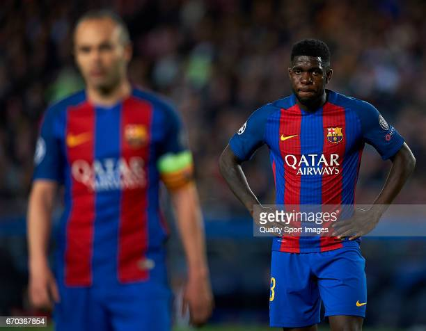 Samuel Umtiti of Barcelona reacts during the UEFA Champions League Quarter Final second leg match between FC Barcelona and Juventus at Camp Nou on...
