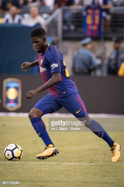 Samuel Umtiti of Barcelona takes the ball across the pitch during the International Champions Cup match between FC Barcelona and Juventus at the...