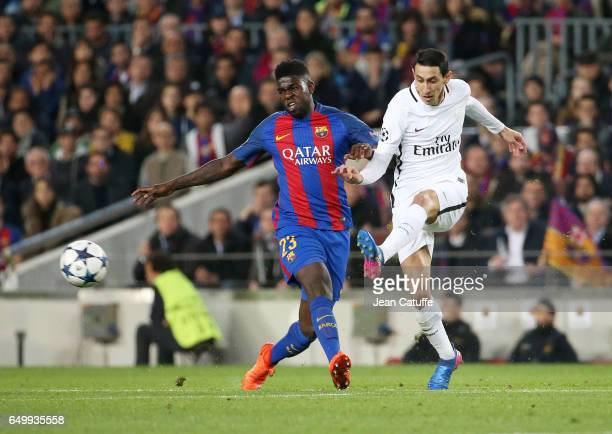Samuel Umtiti of FC Barcelona and Angel Di Maria of PSG in action during the UEFA Champions League Round of 16 second leg match between FC Barcelona...