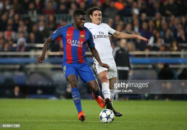 Samuel Umtiti of FC Barcelona and Edinson Cavani of PSG in action during the UEFA Champions League Round of 16 second leg match between FC Barcelona...