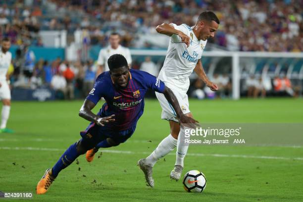 Samuel Umtiti of FC Barcelona and Lucas Vazquez of Real Madrid during the International Champions Cup 2017 match between Real Madrid and FC Barcelona...