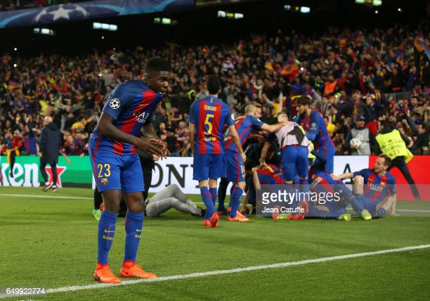 Samuel Umtiti of FC Barcelona and teammates celebrate the victory following the UEFA Champions League Round of 16 second leg match between FC...
