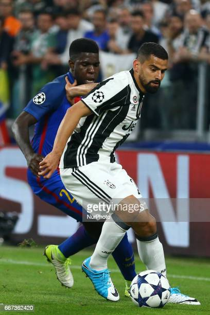 Samuel Umtiti of FC Barcelona and Tomas Rincon of Juventus during the UEFA Champions League Quarter Final first leg match between Juventus and FC...