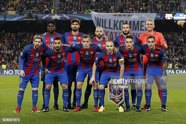 Samuel Umtiti of FC Barcelona Andre Gomes of FC Barcelona Javier Mascherano of FC Barcelona Aleix Vidal of FC Barcelona goalkeeper Jasper Cillessen...