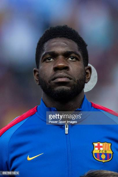 Samuel Umtiti of FC Barcelona during the Copa Del Rey Final between FC Barcelona and Deportivo Alaves at Vicente Calderon Stadium on May 27 2017 in...