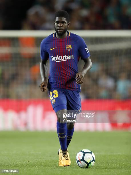 Samuel Umtiti of FC Barcelona during the Trofeu Joan Gamper match between FC Barcelona and Chapecoense on August 7 2017 at the Camp Nou stadium in...