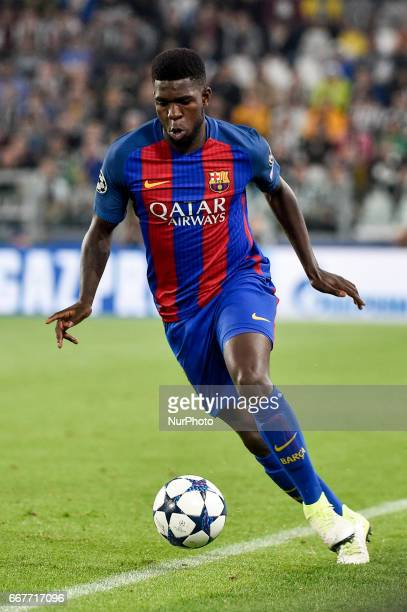 Samuel Umtiti of FC Barcelona during the UEFA Champions League quarter final match between Juventus and Barcelona at the Juventus Stadium Turin Italy...