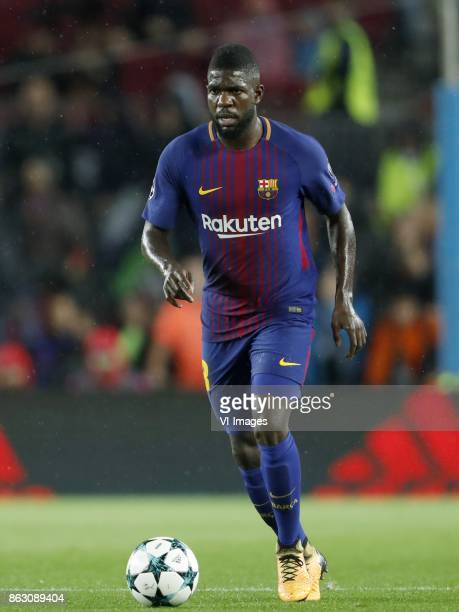 Samuel Umtiti of FC Barcelona during the UEFA Champions League group D match between FC Barcelona and Olympiacos on October 18 2017 at the Camp Nou...
