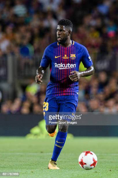 Samuel Umtiti of FC Barcelona in action during the Supercopa de Espana Final 1st Leg match between FC Barcelona and Real Madrid at Camp Nou on August...