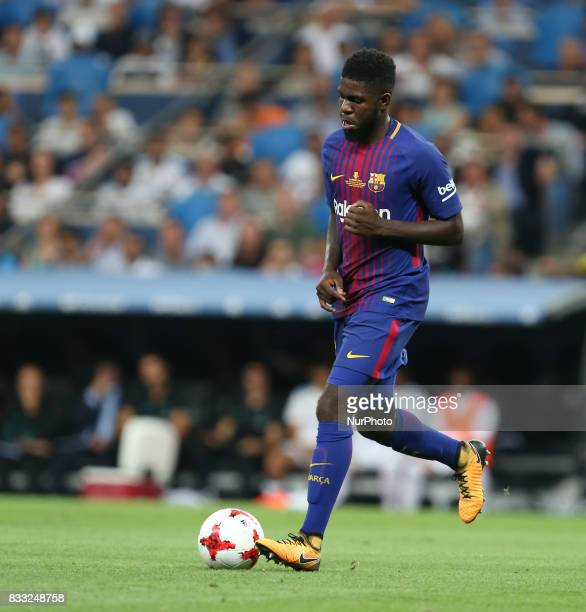 Samuel Umtiti of FC Barcelona in action during the Supercopa de Espana Final second leg match between Real Madrid and FC Barcelona at Estadio...