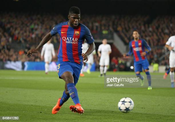 Samuel Umtiti of FC Barcelona in action during the UEFA Champions League Round of 16 second leg match between FC Barcelona and Paris SaintGermain at...