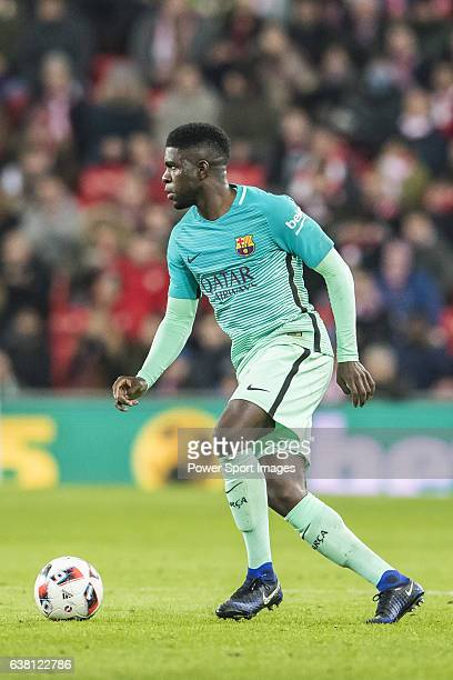Samuel Umtiti of FC Barcelona in action during their Copa del Rey Round of 16 first leg match between Athletic Club and FC Barcelona at San Mames...