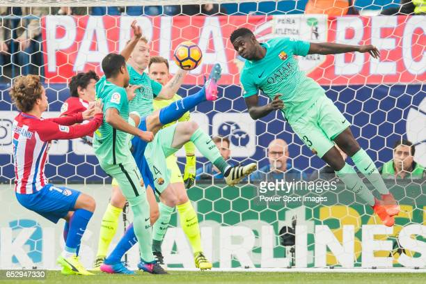 Samuel Umtiti of FC Barcelona in action during their La Liga match between Atletico de Madrid and FC Barcelona at the Santiago Bernabeu Stadium on 26...