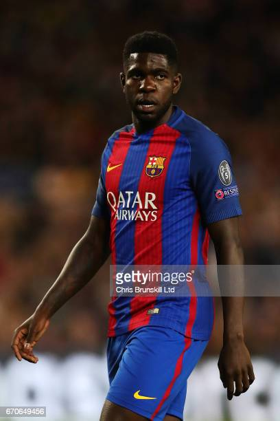 Samuel Umtiti of FC Barcelona looks on during the UEFA Champions League Quarter Final second leg match between FC Barcelona and Juventus at Camp Nou...