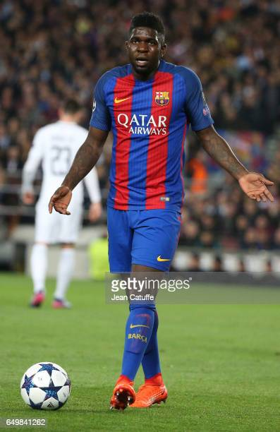 Samuel Umtiti of FC Barcelona reacts during the UEFA Champions League Round of 16 second leg match between FC Barcelona and Paris SaintGermain at...