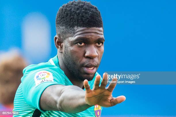 Samuel Umtiti of FC Barcelona reacts during their La Liga match between Atletico de Madrid and FC Barcelona at the Santiago Bernabeu Stadium on 26...