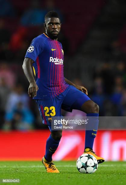 Samuel Umtiti of FC Barcelona runs with the ball during the UEFA Champions League group D match between FC Barcelona and Olympiakos Piraeus at Camp...