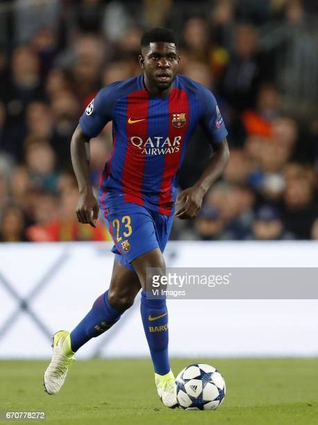 Samuel Umtiti of FC Barcelonaduring the UEFA Champions League quarter final match between FC Barcelona and Juventus FC on April 19 2017 at the Camp...