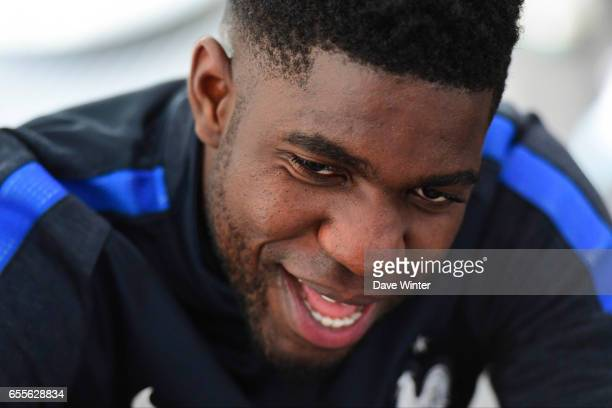 Samuel Umtiti of France during press conference of the soccer french national team at Centre National du Football on March 20 2017 in Clairefontaine...
