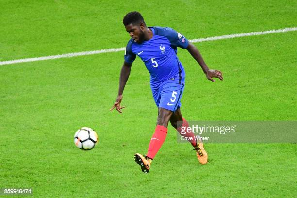 Samuel Umtiti of France during the Fifa 2018 World Cup qualifying match between France and Belarus on October 10 2017 in Paris France
