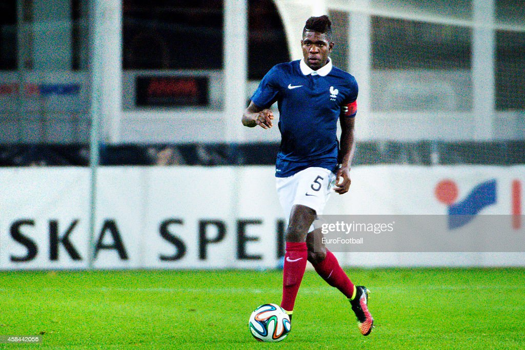 <a gi-track='captionPersonalityLinkClicked' href=/galleries/search?phrase=Samuel+Umtiti&family=editorial&specificpeople=7123899 ng-click='$event.stopPropagation()'>Samuel Umtiti</a> of France in action during the UEFA Under-21 Championship qualifying match between Sweden and France in Orjans Vall Stadium on October 14, 2014 in Halmstad, Sweden.