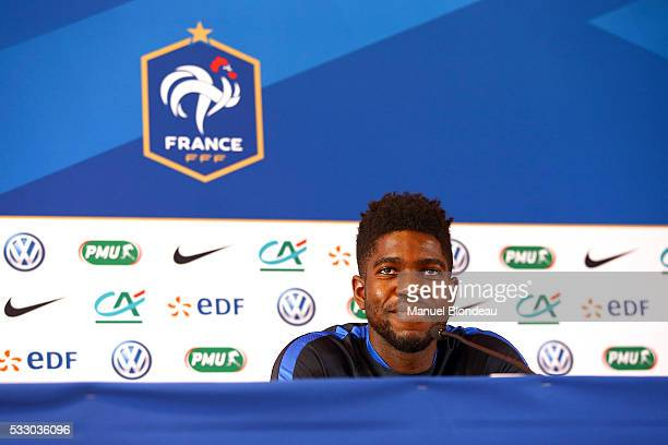 Samuel Umtiti of France in press conference during the preparation of the French National football Team for Euro 2016 on May 20 2016 in Biarritz...