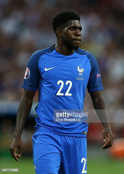 Samuel Umtiti of France looks on during the UEFA Euro 2016 Semi Final match between Germany and France at Stade Velodrome on July 07 2016 in...