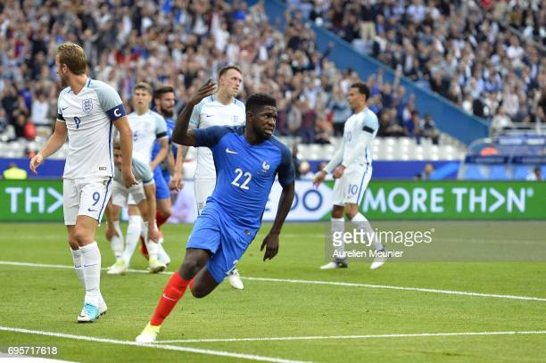 Samuel Umtiti of France reacts after scoring during the International friendly match between France and England at Stade de France on June 13 2017 in...