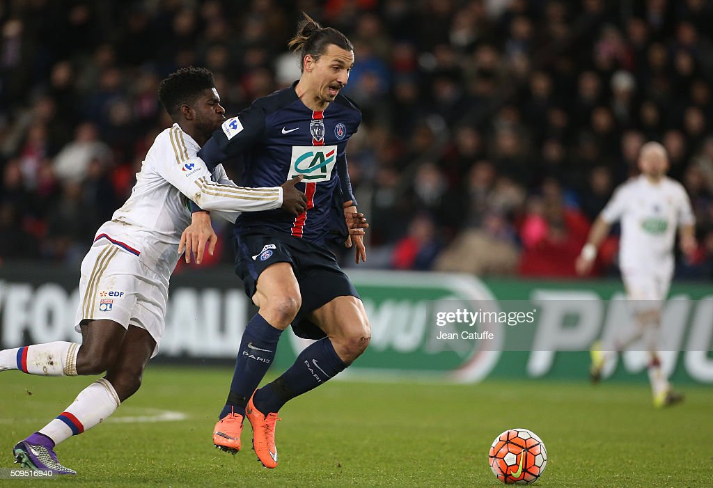 <a gi-track='captionPersonalityLinkClicked' href=/galleries/search?phrase=Samuel+Umtiti&family=editorial&specificpeople=7123899 ng-click='$event.stopPropagation()'>Samuel Umtiti</a> of Lyon and <a gi-track='captionPersonalityLinkClicked' href=/galleries/search?phrase=Zlatan+Ibrahimovic&family=editorial&specificpeople=206139 ng-click='$event.stopPropagation()'>Zlatan Ibrahimovic</a> of PSG in action during the French Cup (Coupe de France) match between Paris Saint-Germain (PSG) and Olympique Lyonnais (OL) at Parc des Princes stadium on February 10, 2016 in Paris, France.