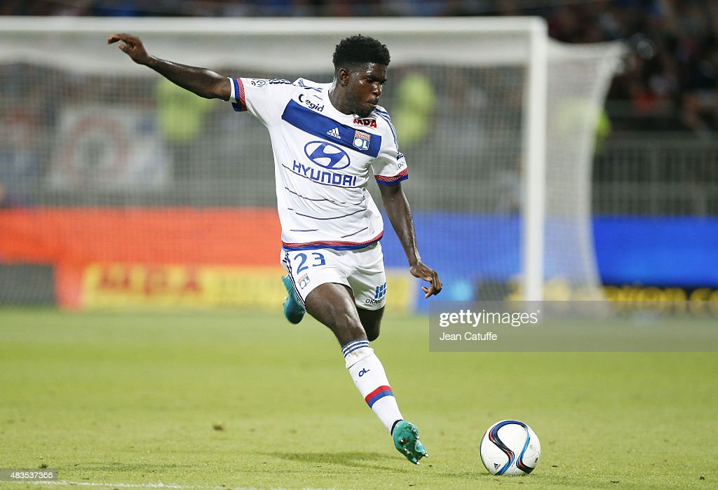 <a gi-track='captionPersonalityLinkClicked' href=/galleries/search?phrase=Samuel+Umtiti&family=editorial&specificpeople=7123899 ng-click='$event.stopPropagation()'>Samuel Umtiti</a> of Lyon in action during the French Ligue 1 match between Olympique Lyonnais (OL) and FC Lorient at Stade de Gerland on August 9, 2015 in Lyon, France.
