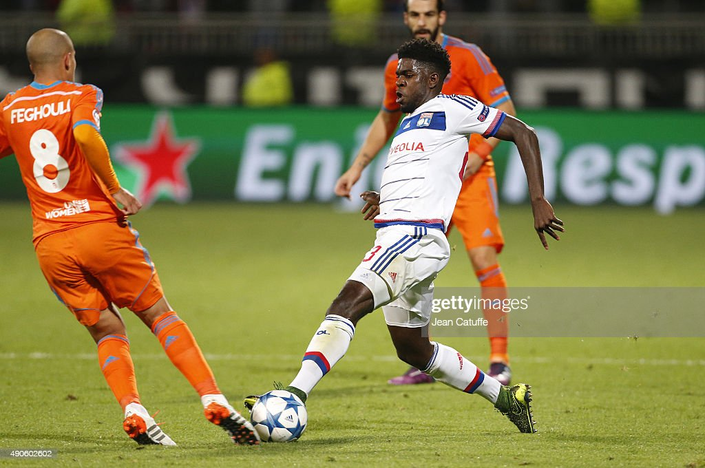 <a gi-track='captionPersonalityLinkClicked' href=/galleries/search?phrase=Samuel+Umtiti&family=editorial&specificpeople=7123899 ng-click='$event.stopPropagation()'>Samuel Umtiti</a> of Lyon in action during the UEFA Champions league match between Olympic Lyonnais (OL) and Valencia CF at Stade de Gerland on September 29, 2015 in Lyon, France.