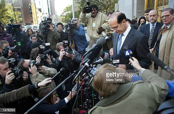 Samuel Waksal founder and former chief executive of ImClone Systems Inc speaks to the news media outside US District Court after pleading guilty to...